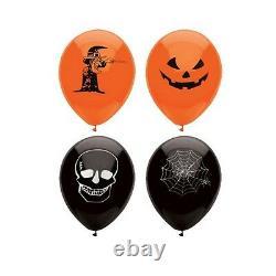15 Halloween Balloons Black Orange Cobweb Fancy Dress Party Spooky Decoration