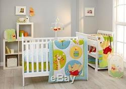 6pc Disney Winnie The Pooh Unisex Crib Bedding Set Plush Mink Blanket Bumper