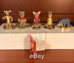Arribas Swarovski Crystal Winnie the Pooh Set Tigger Eeyore Piglet Disney COA