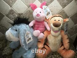 Build a Bear Stuffed DISNEY Winnie The Pooh EEYORE TIGGER PIGLET withSOUND EASTER