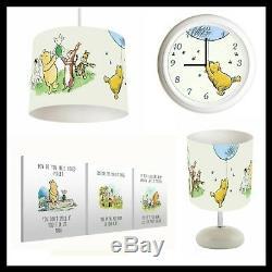 Classic Winnie The Pooh (103) Nursery Set Lampshade, Lamp, Clock Canvas Prints