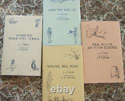 Complete Set Winnie-the-Pooh First Edition Facsimiles A. A. Milne with Dust Jackets