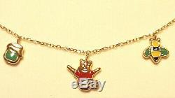 DISNEY 14K Winnie The Pooh Gold & enamel Charm child fine jewelry Bracelet YUZU