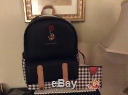 DISNEY Loungefly Winnie The Pooh Black Plaid Mini Backpack & Card Holder