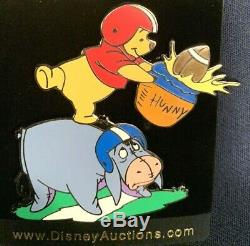 Disney Auctions BLACK Artist Proof Pooh & Eeyore Football Pin from 2005 LE 1