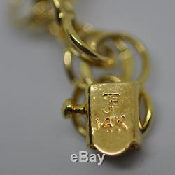 Disney Charm Bracelet Mickey Mouse Winnie The Pooh 14K Yellow Gold 7.9g 3 Charms