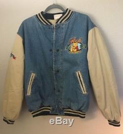 Disney Denim Varsity Jacket Winnie the Pooh Lined M Embroidered Vintage Rare
