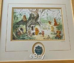 Disney Gallery Winnie the Pooh Eeyore Tigger Kanga Roo Rabbit Framed LE Pin Set