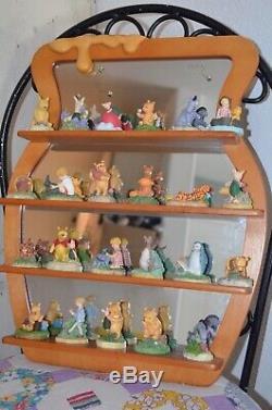 Disney Lenox Winnie the Pooh Thimble Collection Set With Honey Pot Mirror Shelf