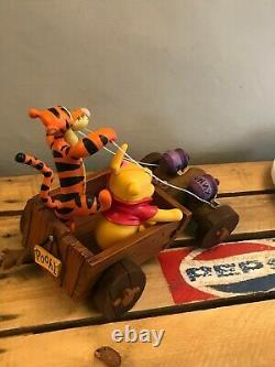 Disney Pooh Tigger & Piglet in Cart resin statue figurine ornament