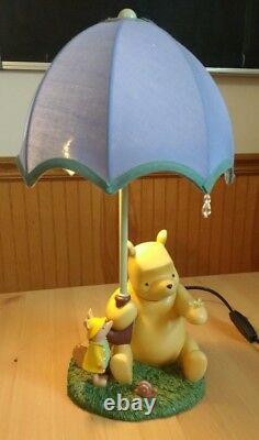 Disney Store Pooh Just Begun LAMP Umbrella Raindrop Piglet Blue Vintage 90s RARE
