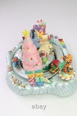 Disney Store Winnie The Pooh Music Box Christmas Santa Claus Wish List Figurine