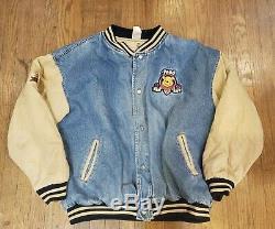 Disney Store Winnie The Pooh Varsity Jean Jacket Khaki Denim Vtg Size XL