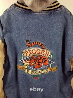 Disney Store Winnie the Pooh TIGGER Denim Khaki Varsity Jacket Vintage Size XL