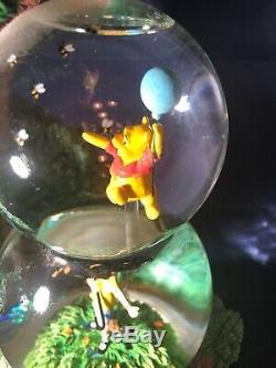 Disney Winnie The Pooh Christopher Robin TWO TIER Snow globe Very Rare