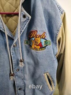 Disney Winnie The Pooh Embroidered Khaki Denim Varsity Jacket Size L Vintage