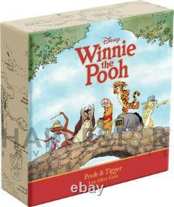 Disney Winnie The Pooh Series Pooh & Tigger 1 Oz. Silver Coin Ogp Coa