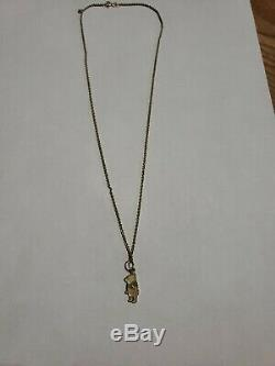 Disney Winnie The Pooh Vintage Yellow Gold 14K Charm Rope Chain Necklace 3.3 GR