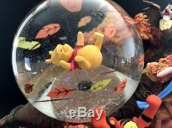 Disney Winnie the Pooh Blustery day snowglobe music box collectiable