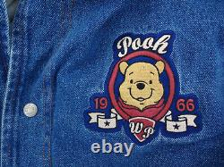 Disney Winnie the Pooh Denim Jean Varsity Jacket Quilted Lining with Hood Size XL