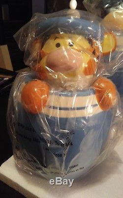 Disney Winnie the Pooh Peek-A-Boo Cookie Jar / Canister Set of 4 in Blue NIB