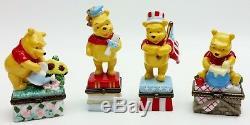 Disney Winnie the Pooh Porcelain Trinket Boxes Calendar Display Shelf USED