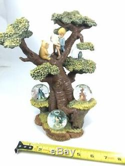 Disney Winnie the Pooh Tree with Multiple Mini Snow Globes 75th Anniversary. Read