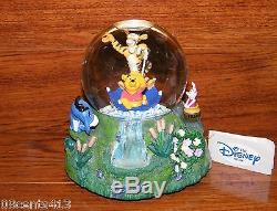 Disney's Stores 1996 Winnie The Pooh Music Box & SnowGlobe The Rain Came Down