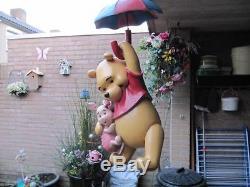 Extremely Rare! Walt Disney Winnie the Pooh & Piglet Flying on Umbrella Statue