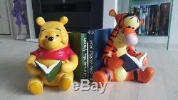 Extremely Rare! Walt Disney Winnie the Pooh with Tigger Bookends Set Statues