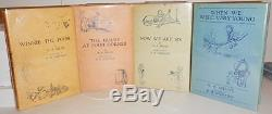 Four, Winnie the Pooh Books, Signed by A. A. Milne, with Original Dust Jackets