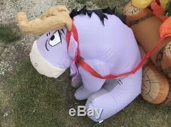Gemmy Christmas Airblown Inflatable 8 Disney Winnie The Pooh Log Sled Scene