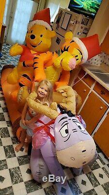 Gemmy Christmas Airblown Inflatable 8 Disney Winnie The Pooh Tigger Log Sled