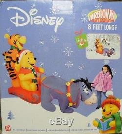 Gemmy Disney Winnie The Pooh, Eeyore & Tigger Sled Airblown Inflatable 8 Feet
