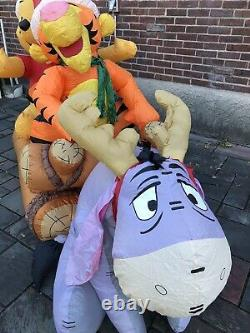 Gemmy Disney Winnie the Pooh Tigger Eeyore Log Sleigh Sled 8 Airblown Inflatable