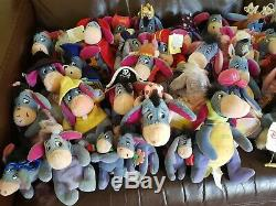 HUGE BUNDLE 47X Eeyore Beanie Plush Soft Toy Collection Disney Store WITH TAGS