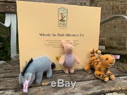 L. ED. 2002 Steiff Winnie the Pooh Miniature Set Eeyore, Piglet, and Tigger
