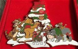 LE OLD Disney Pin Set Winnie the Pooh Tigger Piglet Eeyore Roo Christmas Tree
