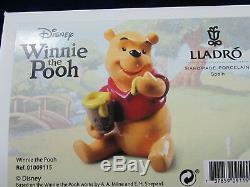 Lladro Winnie The Pooh Brand New In Box #9115 Disney Hunny Jar Cute Save$ F/sh