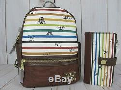 Loungefly Disney Winnie the Pooh Striped Mini Backpack & Wallet NWT