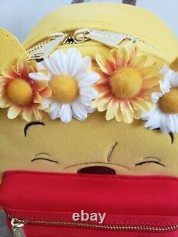Loungefly Winnie The Pooh Floral Crown Love Flower Flocked Mini Backpack Disney