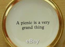 Ltd Ed Halcyon Days Winnie the Pooh A Picnic is a Very Grand Thing Enamel Box