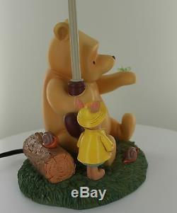 NEW Rare Disney Winnie the Pooh and Piglet Under Umbrella Lamp Rain Drop