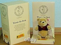 NEW STEIFF CLUB TEDDY BEAR MOHAIR JOINTED 2001 DISNEY WINNIE THE POOH 75th ANN