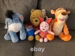NIB Disney Build a Bear Winnie the Pooh, Eeyore, Tigger, Piglet with Sound