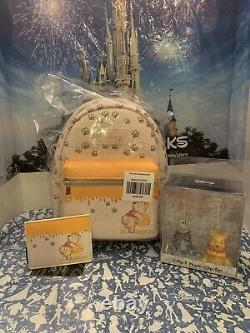 NWT Disney Loungefly Winnie The Pooh LOT Mini Backpack Card Wallet & Photo Clips