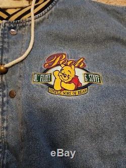 NWT Vintage Disney Store XL Winnie the Pooh Denim Varsity Jacket Coat withHood Vtg