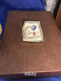 R John Wright Winnie the Pooh 14 Mohair Bear w Honey Pot 3882/5000 w Box &stand