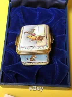RARE HALCYON DAYS Disney Winnie The Pooh With Tigger Trinket Enamel Box MINT
