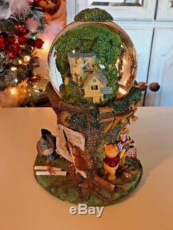 RARE Winnie the Pooh musical Tree House Snow Globe Disney